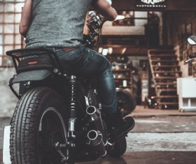 Man riding motorcycle Stock Photo 03