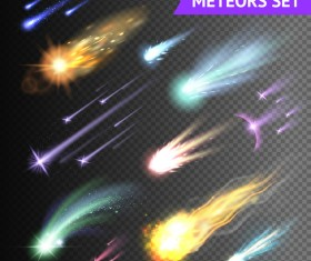 Meteors comets fireballs transparent vector illustration