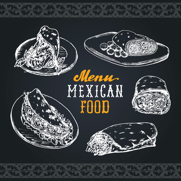 Mexican food menu cover template vector 01