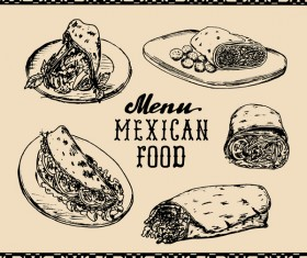 Mexican food menu cover template vector 02