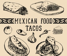 Mexican food tacos vector material