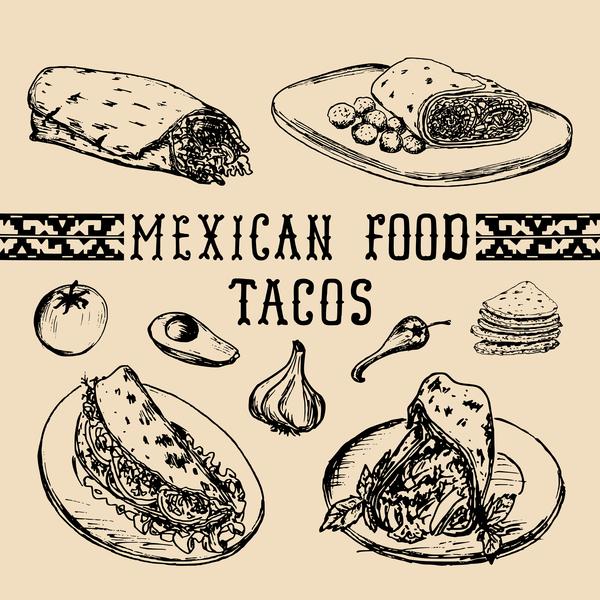 Mexican food tacos vector material