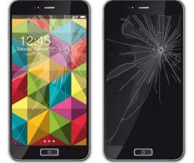 Mobile phone broken screen design vector