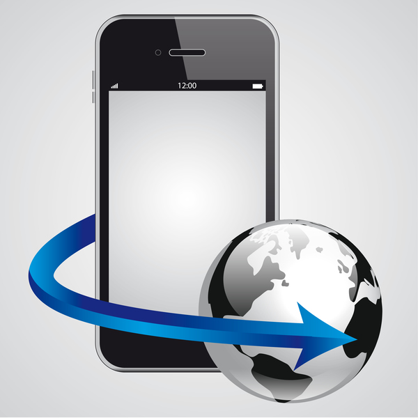 Mobile phone with earth vector