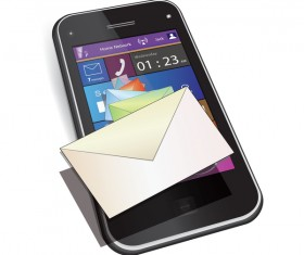 Mobile phone with mail vector
