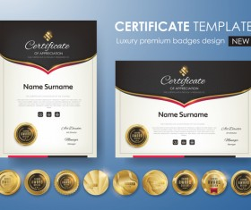 Modern certificate template with golden badge vectors 02