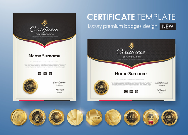 Modern Certificate Template With Golden Badge Vectors 02 Free Download