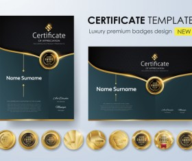 Modern certificate template with golden badge vectors 03