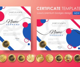 Modern certificate template with golden badge vectors 05