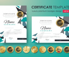 Modern certificate template with golden badge vectors 06