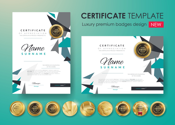 modern certificate template with golden badge vectors 06 - Modern Certificate Template