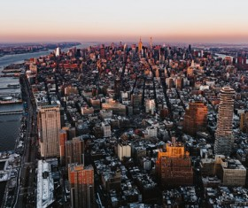Modern crowded city landscape from height Stock Photo