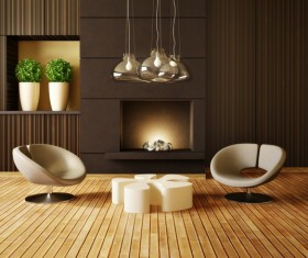 Modern interior room with stylish furniture Stock Photo 07