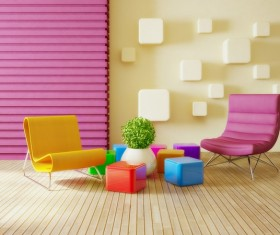 Modern interior room with stylish furniture Stock Photo 08