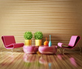 Modern interior room with stylish furniture Stock Photo 09