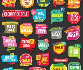 Modern origami sale stickers and tags colorful vector 01