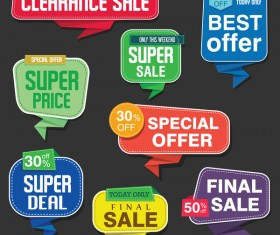 Modern origami sale stickers and tags colorful vector 02