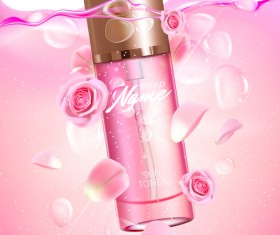 Nature rose water cosmetic AD poster template vector 04