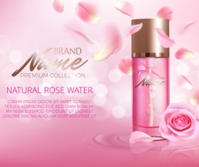 Nature rose water cosmetic AD poster template vector 06
