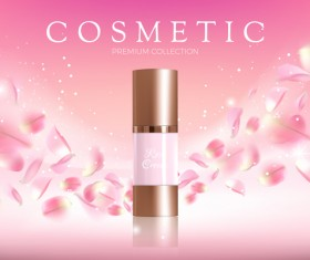 Nature rose water cosmetic AD poster template vector 08