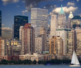 New York USA Manhattan city buildings landscape Stock Photo