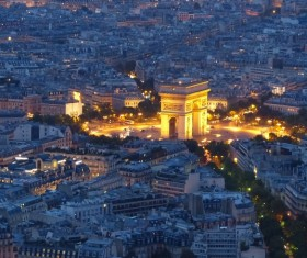Night view of Arc de Triomphe Paris France Stock Photo
