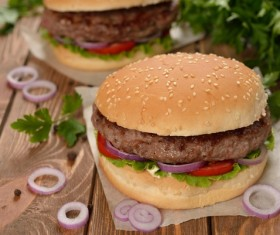 Onion steak hamburger Stock Photo
