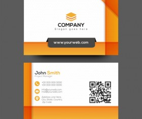 Orange company business card vector