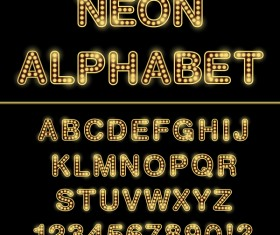 Orange neon lights alphabet with number vector