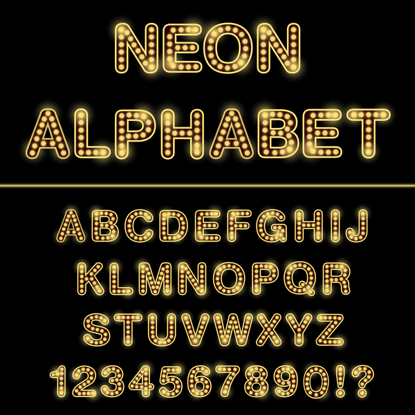 Orange neon lights alphabet with number vector