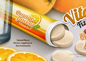 Orange vitaminc flzzy tablet advertising poster vector