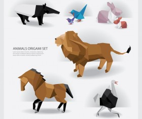 Origami wild animals vectors background