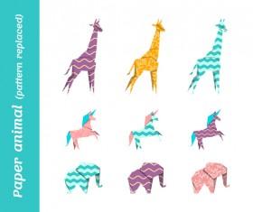 Paper animals vectors material 01
