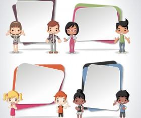 Paper banners with cartoon kids vectors 01