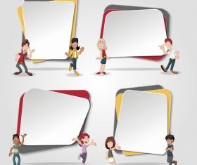 Paper banners with cartoon kids vectors 02