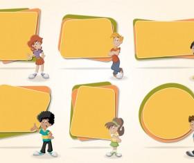 Paper banners with cartoon kids vectors 03