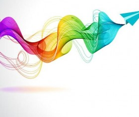 Paper plane with abstract colored wave background vector