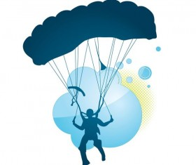 Parachute silhouette vector material 01