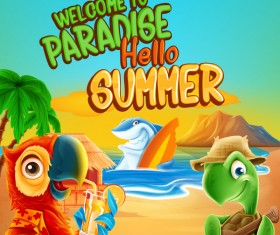 Paradise summer holiday cartoon vectors material