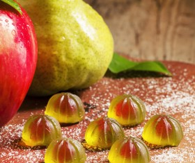 Pear apple and Fruit jelly Stock Photo