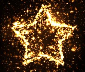 Pentagram with golden lights effect vector
