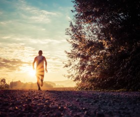People running in the morning Stock Photo
