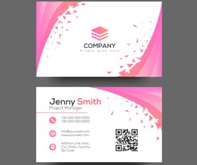 Pink abstract business card vector
