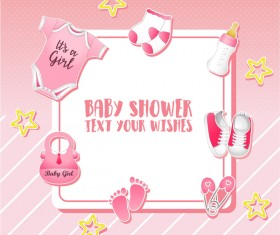 Pink baby shower cards vectors 01