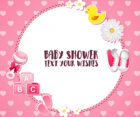 Pink baby shower cards vectors 02