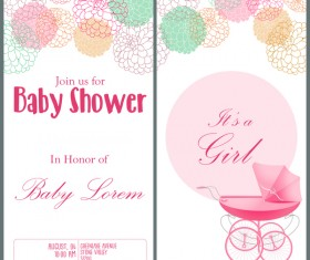 Pink baby shower vertical banner vectors