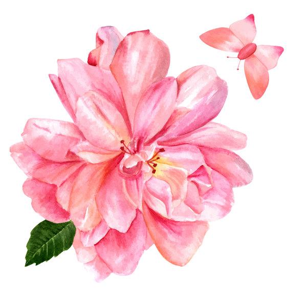Pink Flower Watercolor Vector Free Download