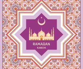 Pink ramadan kareem card vector template