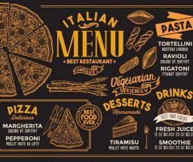 Pizza pasta italian food menu vector 01