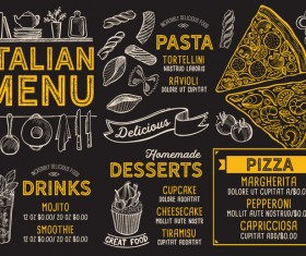 Pizza pasta italian food menu vector 02
